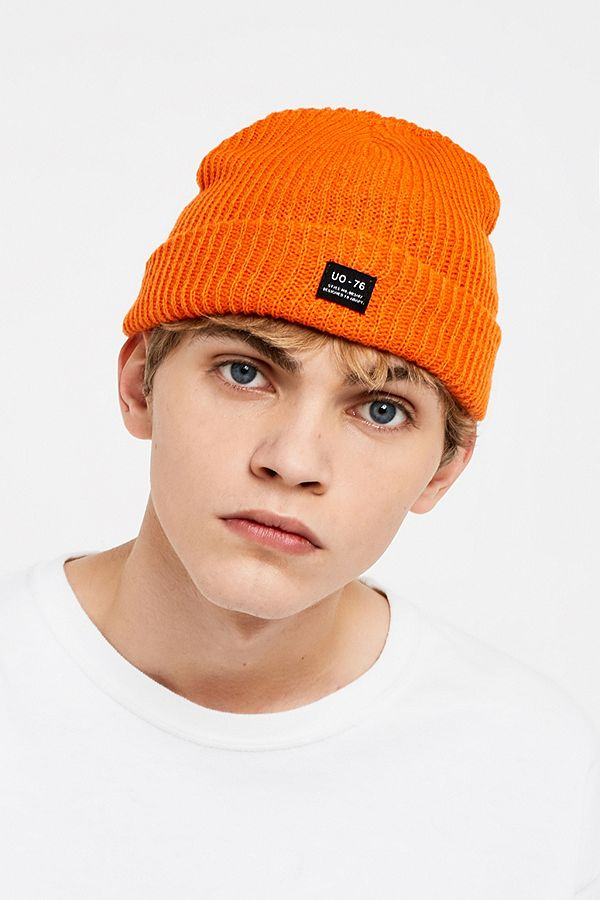 202ce73bd UO Orange Mini Roll Beanie