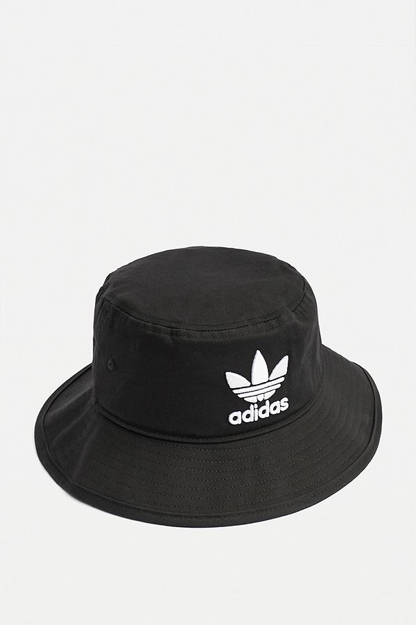 A branded black and white logo bucket hat from Adidas