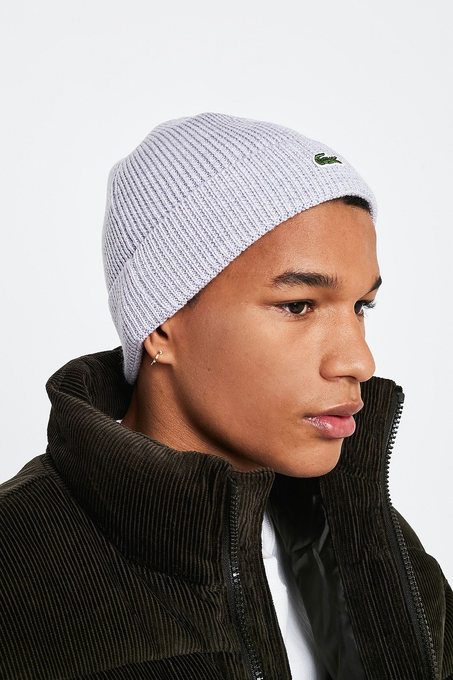 adafd08f51 Lacoste Basic Grey Marl Beanie | Urban Outfitters UK