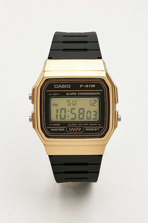 0d46524b9 Casio F91W-1 Black and Gold Watch | Urban Outfitters UK