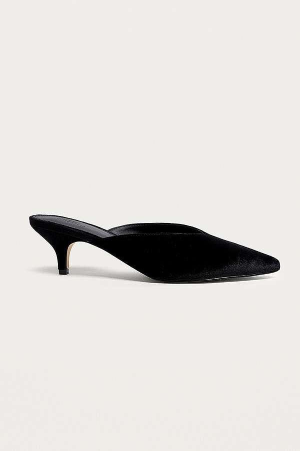 2bf6a024d122 Valerie Velvet Pointy Toe Kitten Heel Mules