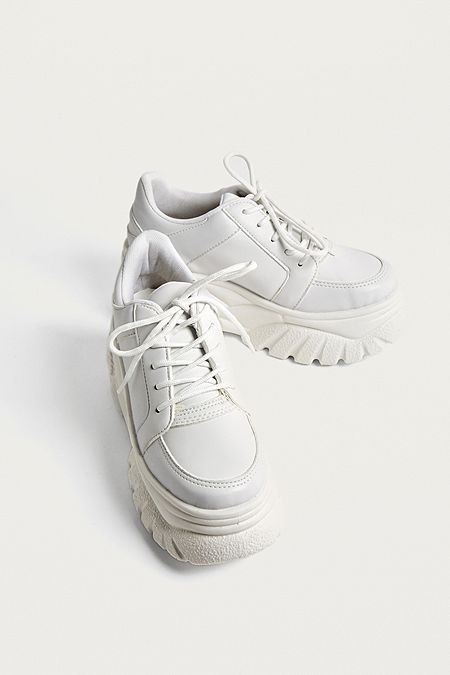 the latest da4fc 917fc UO Tyson White Faux Leather Chunky Trainers