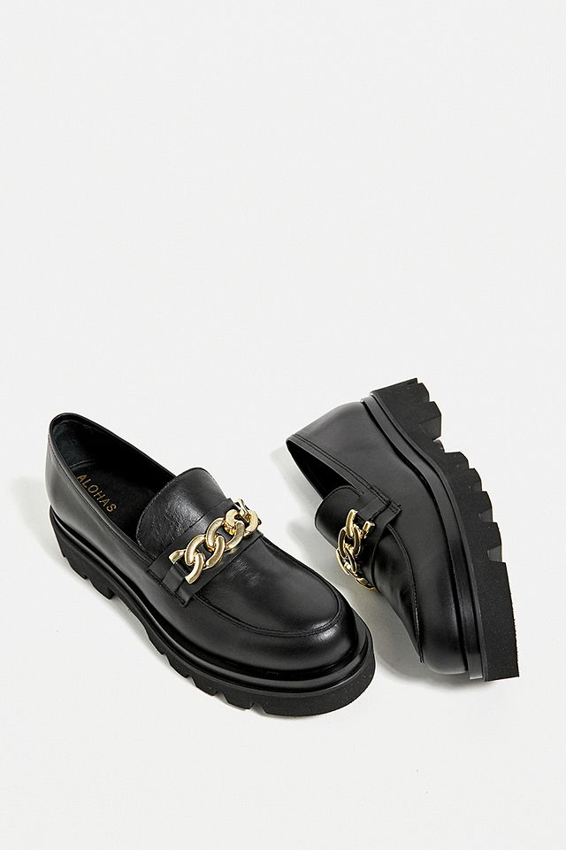 ALOHAS Track Total Black Loafers