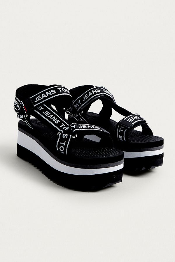 24459e044ef Tommy Jeans Technical Black Platform Sandals