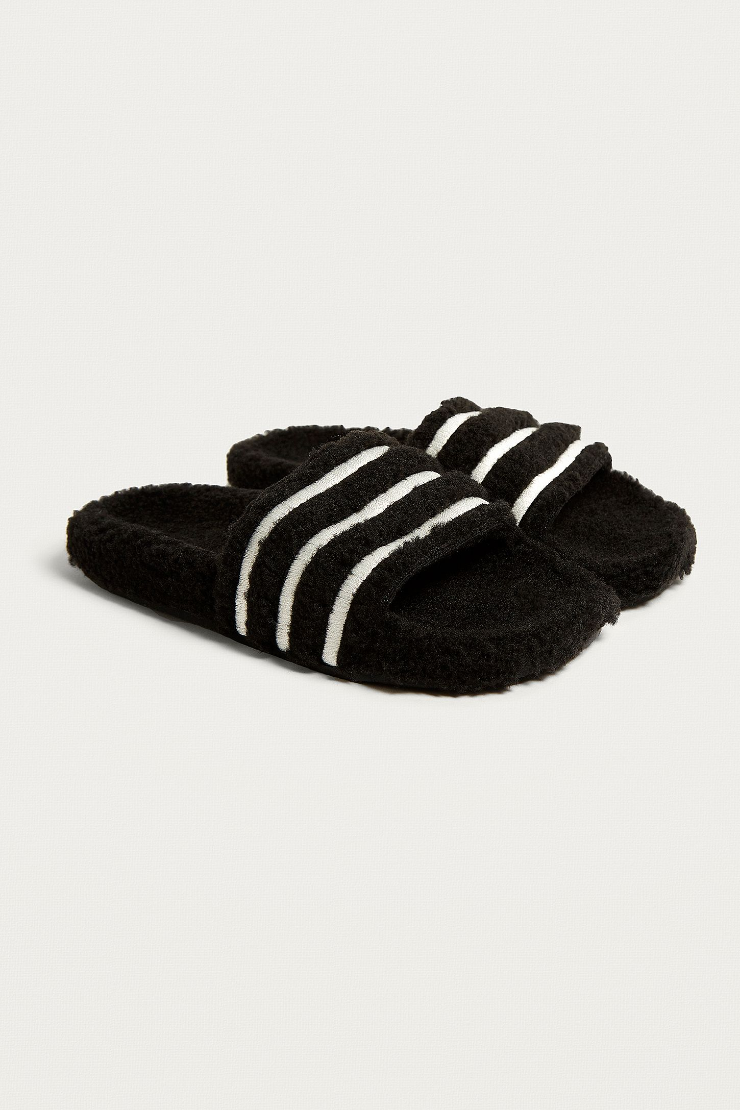 23b6d3b20 adidas Originals Adilette Black Striped Teddy Slides. Click on image to  zoom. Hover to zoom. Double Tap to Zoom