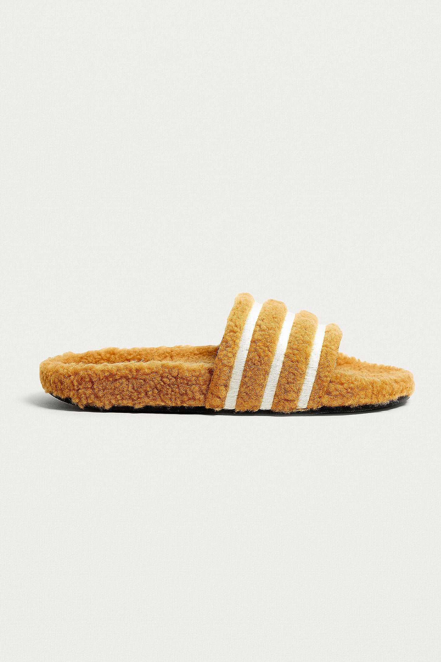 95c51d9874ac adidas Originals Adilette Brown Striped Teddy Slides