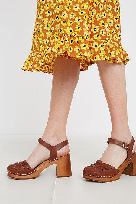 a2ee17497f73 Swedish Hasbeens Marit Tan Heeled Sandals