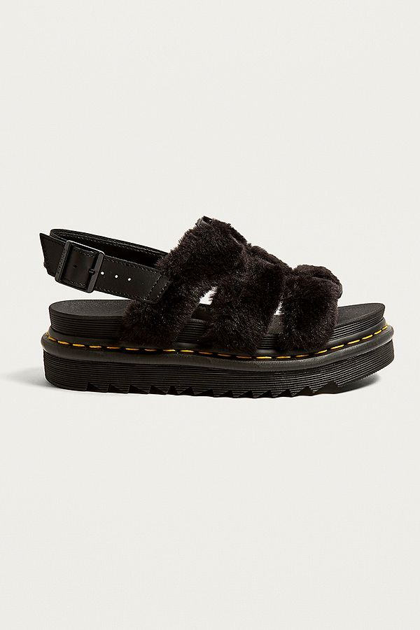 superior quality latest lower price with Dr. Martens Yelena Black Fluffy Sandals | Urban Outfitters UK