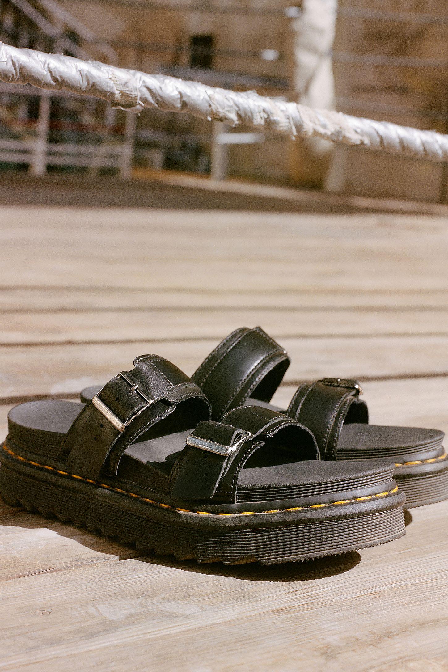 baf4438b0cf499 Dr. Martens Myles Black Slider Sandals