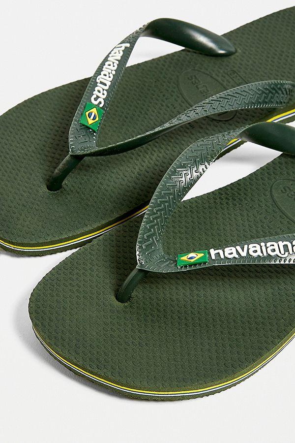 e84213e846b7 Slide View  2  Havaianas Brazil Logo Olive Green Flip-Flops