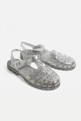 52dc3c12c6f JuJu Reilly Clear Glitter Jelly Sandals