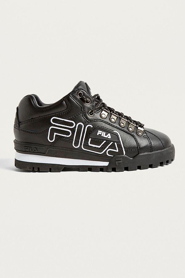5eba77795fab FILA Trailblazer Black Leather Trainers