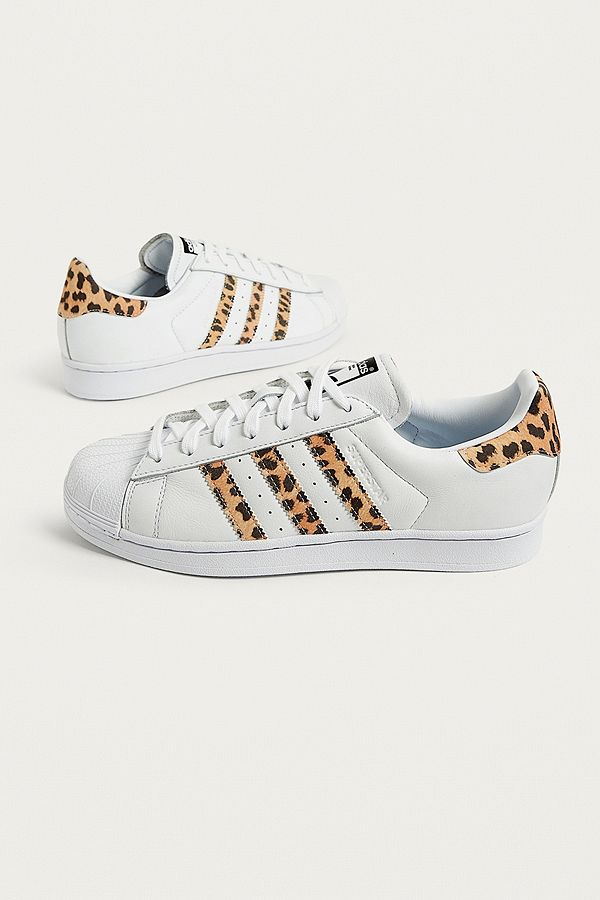 adidas Originals Superstar Trainers With Leopard Print Trim
