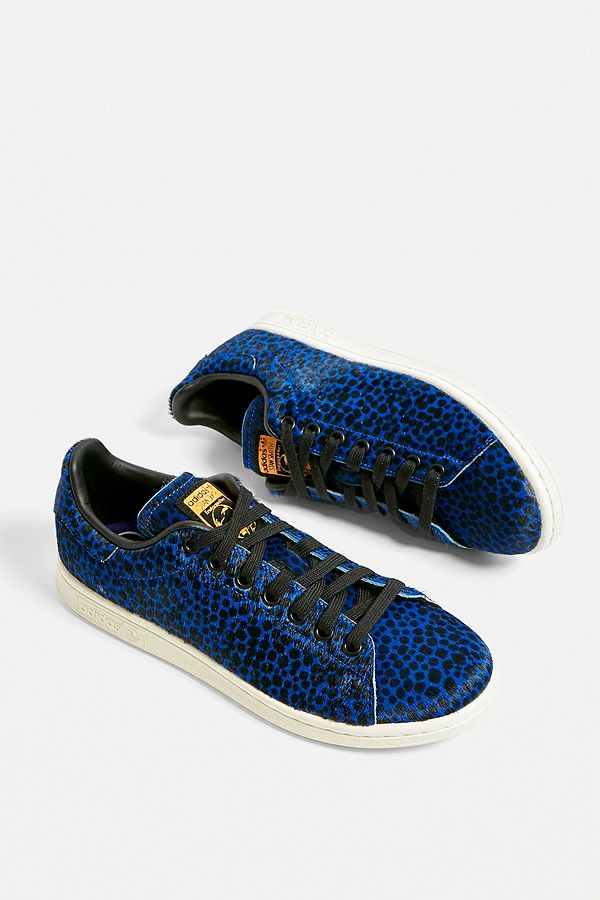 low priced 861f5 fd35d adidas Originals Stan Smith Blue Leopard Print Trainers