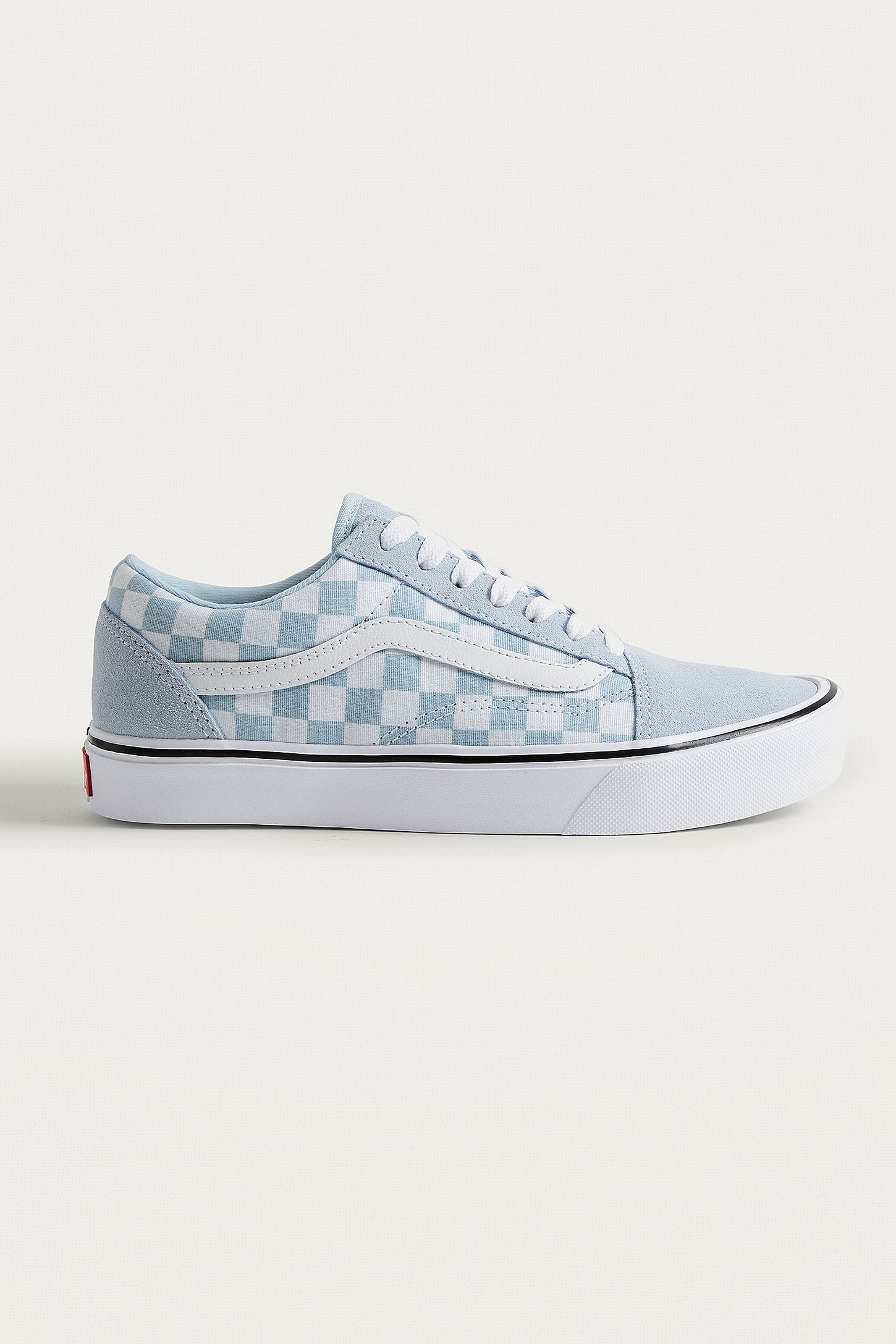 4a8cb90094 Vans Old Skool Light Blue Checkerboard Trainers