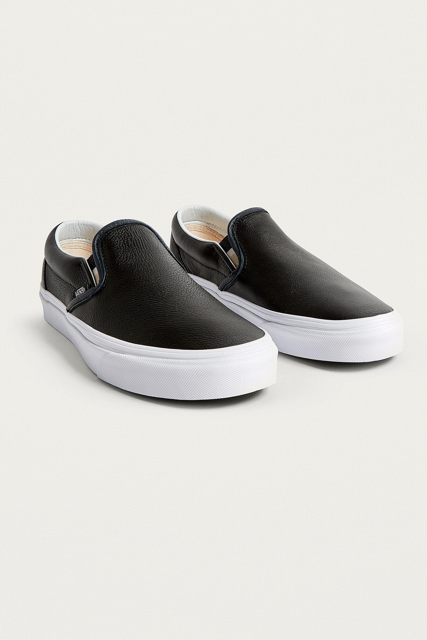 49b153468090 Vans Black Leather Slip-On Trainers