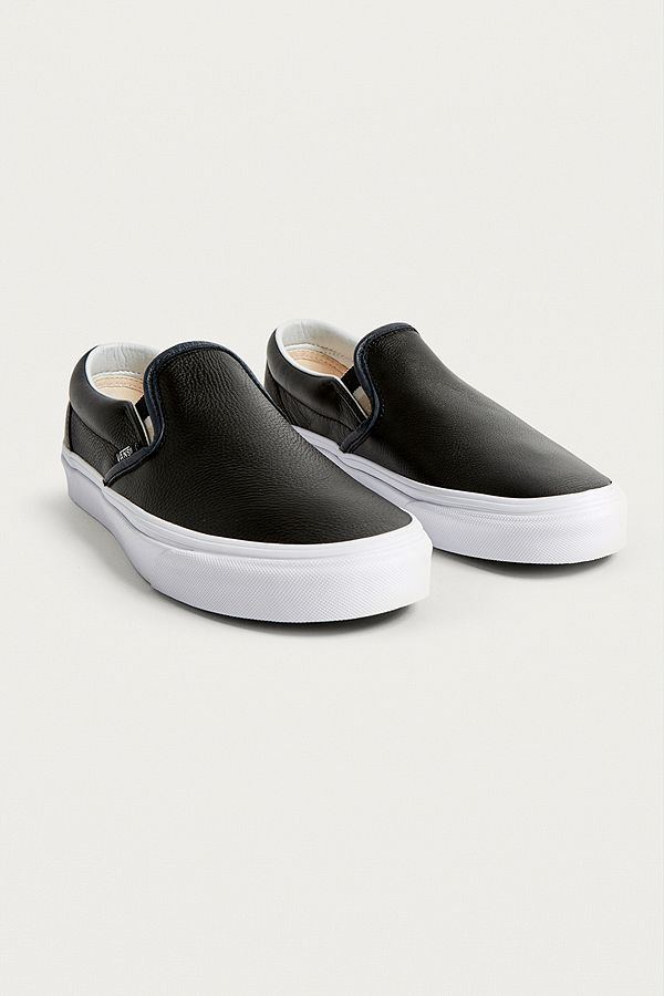ceb7f17e35 Vans Black Leather Slip-On Trainers