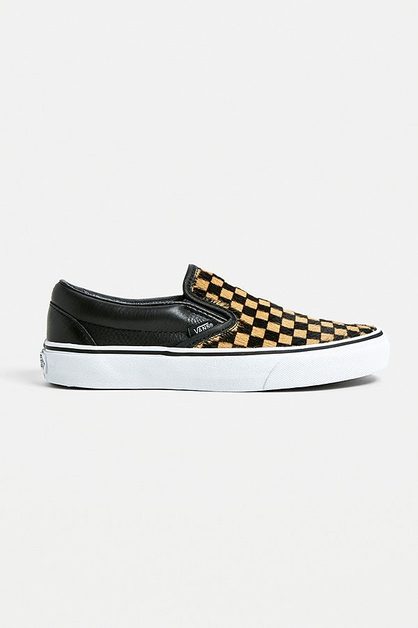 5c047dfcb1c Vans Checkerboard Calf Hair Slip-On Trainers   Urban Outfitters UK