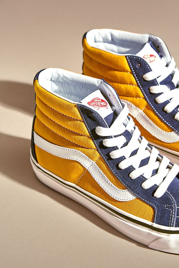 2d326e78a90 Vans Sk8-Hi Anaheim Factory 38 DX Navy and Yellow Trainers