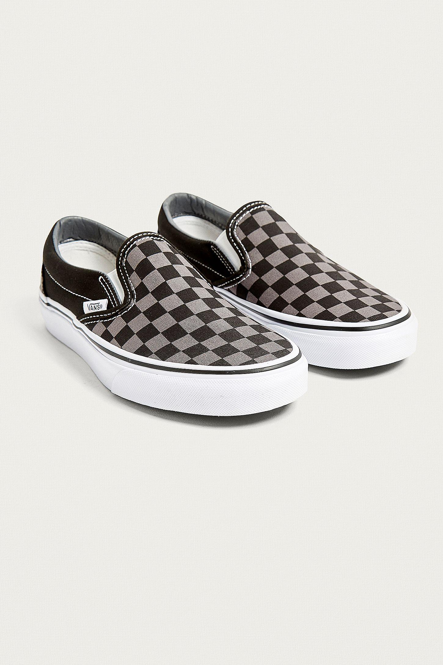 0a965aada60088 Vans Black and Grey Checkerboard Slip-On Trainers