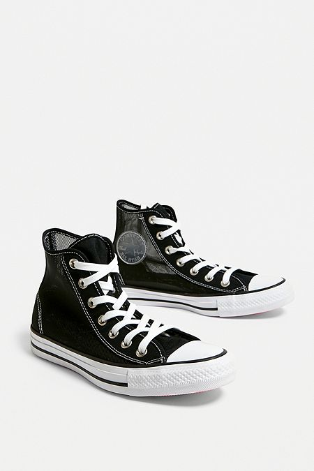 a9779ee3d0f Converse Chuck Taylor All Star Black Mesh High Top Trainers