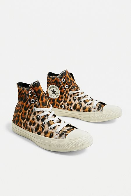 4bd0cde7446202 Converse All Star Chuck Taylor Leopard Print High Top Trainers