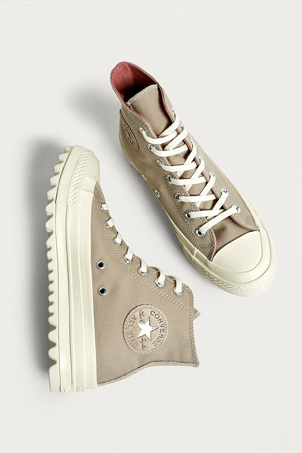 2f412409474d Converse Chuck Taylor All Star Lift Ripple Beige High Top Trainers ...