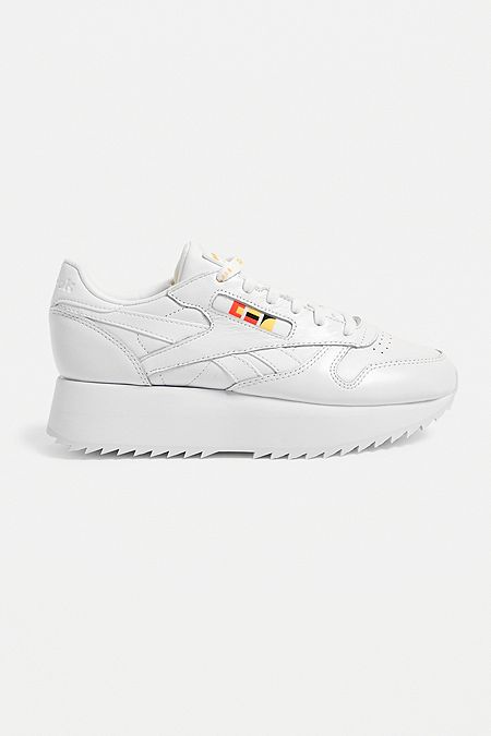 9c2ccb8313b45 Reebok Classic Leather Double Stack White Trainers