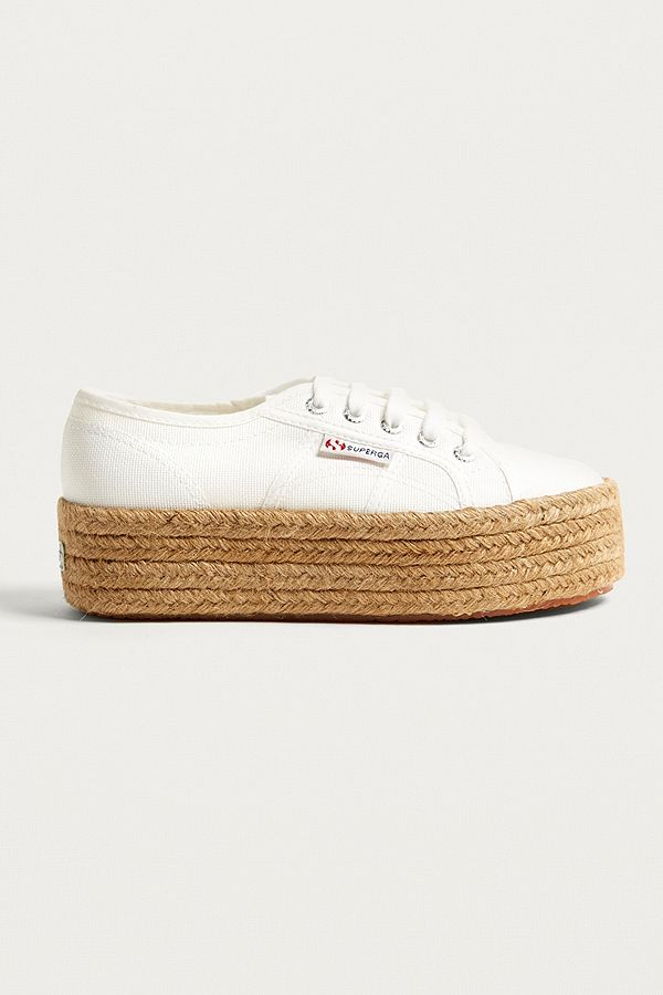 58887366dfdea Superga 2790 Cotropew White Flatform Trainers | Urban Outfitters UK