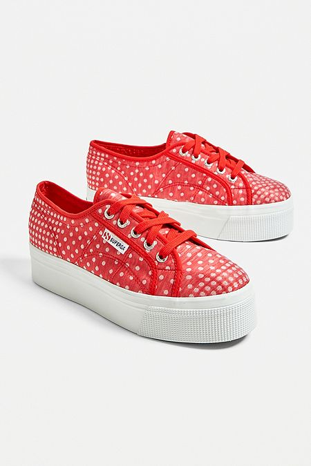 detailed look c0917 b9e58 Superga 2790 Red Check Platform Trainers