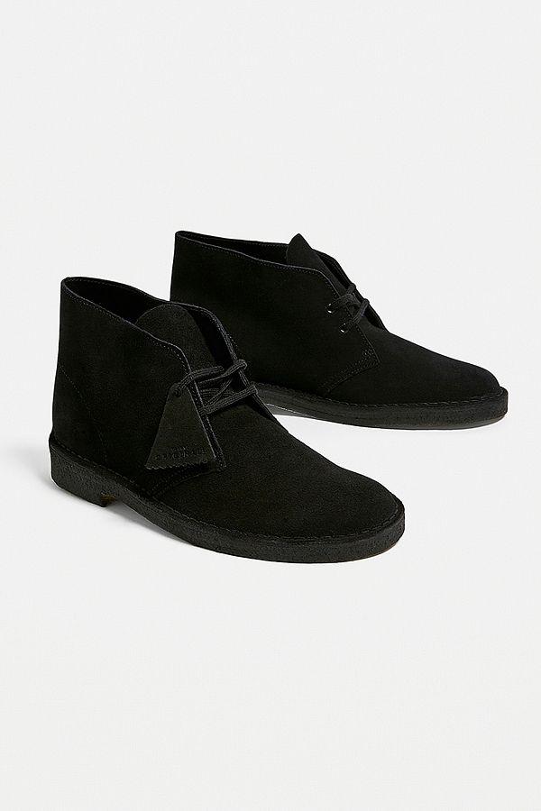 Clarks Black Suede Desert Boots