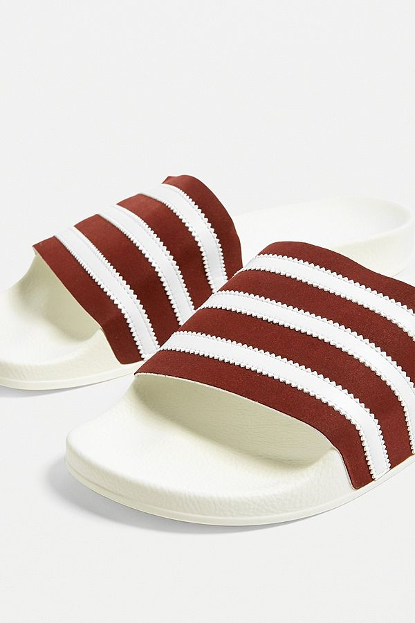418d4f6a0a44 Slide View  2  adidas Adilette White and Burgundy Pool Sliders