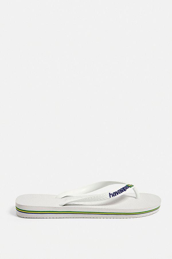ebaa98fc8 Havaianas Brazil Logo White Flip-Flops | Urban Outfitters UK