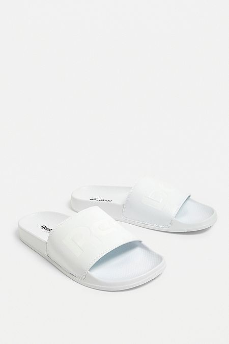 separation shoes 248ce 1231f Reebok Classic Split Logo White Pool Sliders