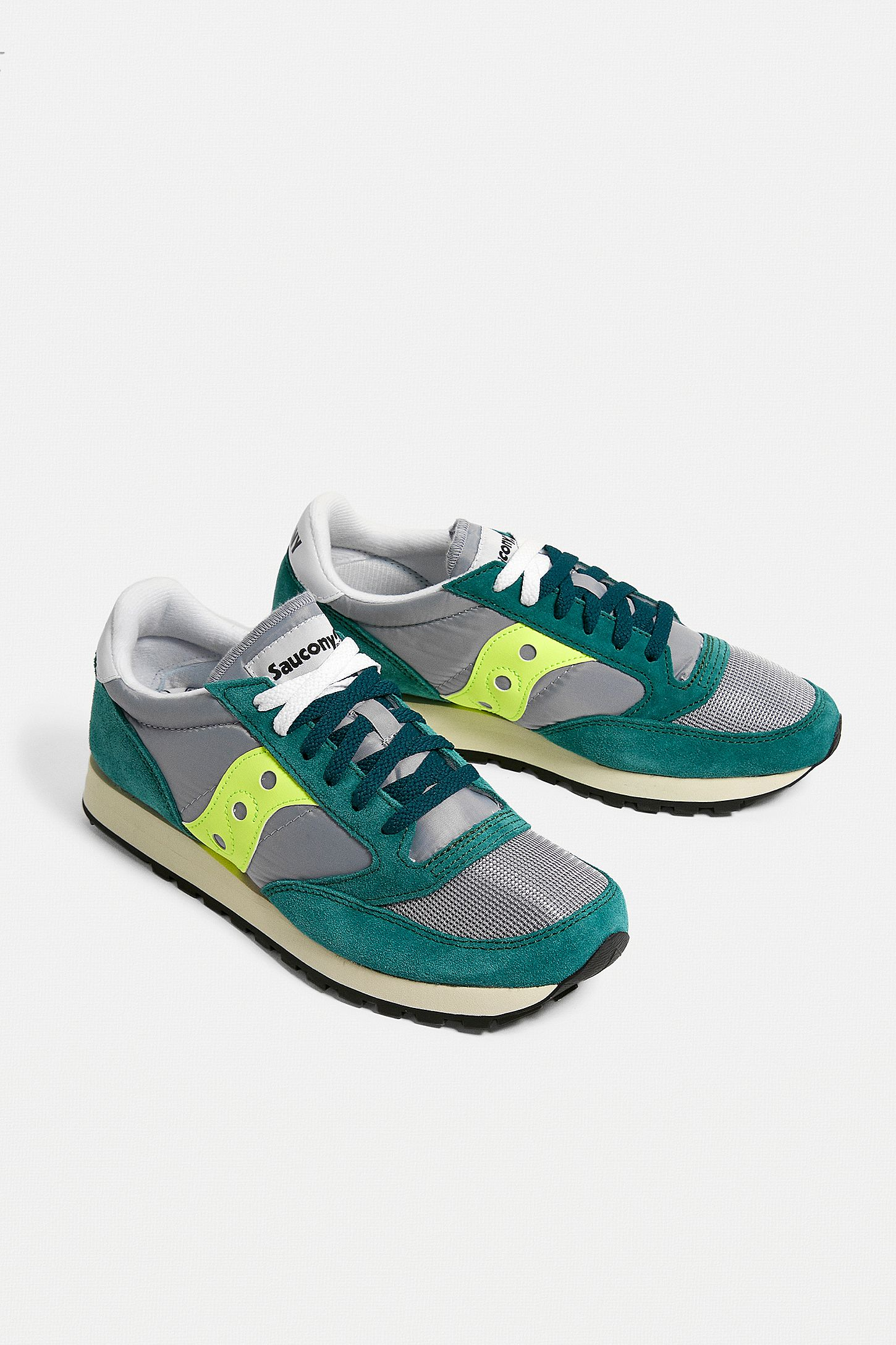 the latest d7798 bc537 Saucony Jazz Original Green, Grey and Neon Trainers