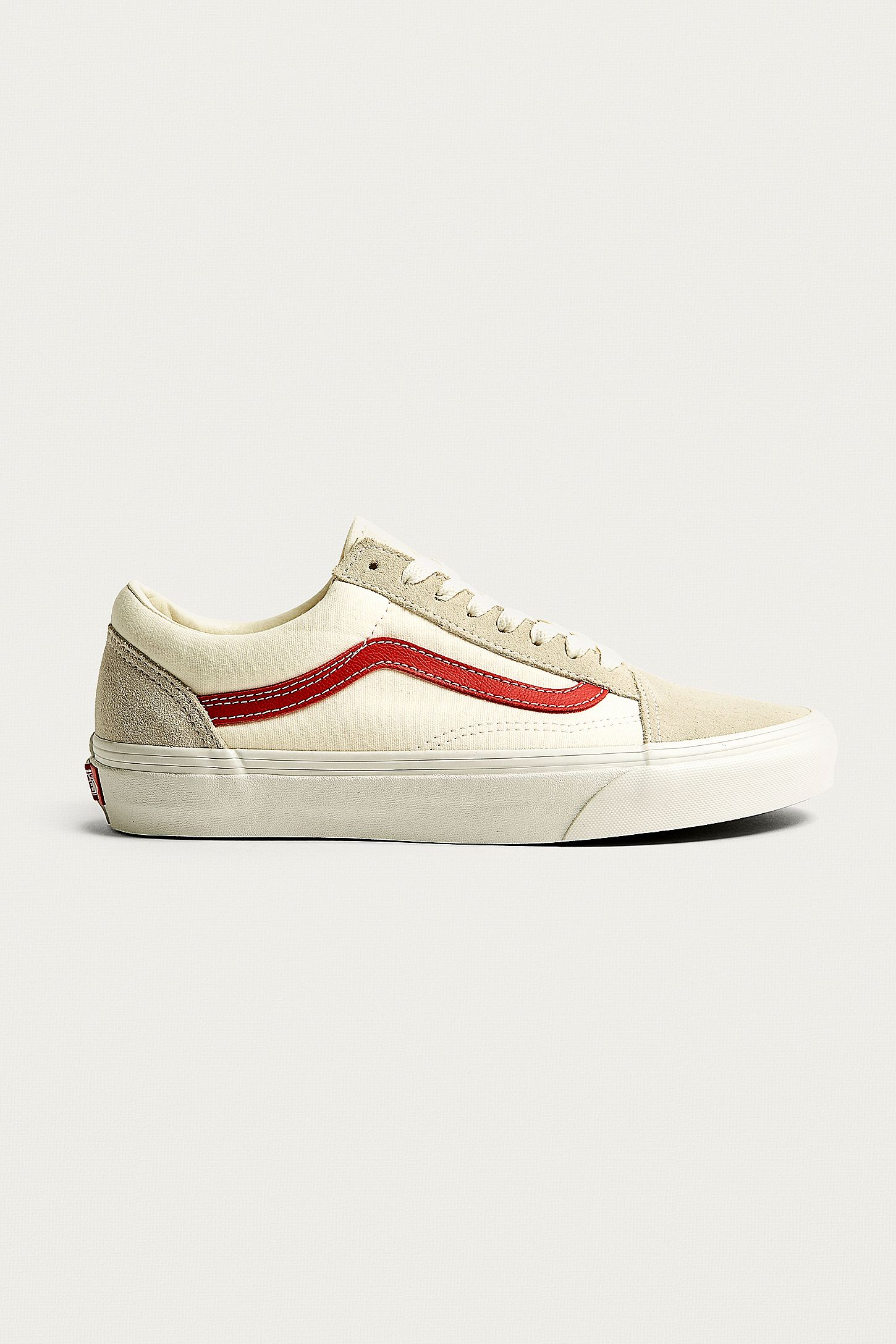 28249b9f1f Vans Old Skool White and Red Trainers. Click on image to zoom. Hover to  zoom. Double Tap to Zoom