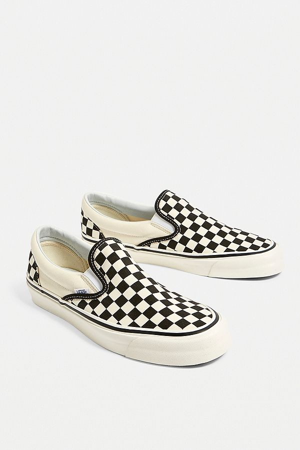 148466976e Slide View  1  Vans Anaheim Factory Authentic 98 DX Slip-On White  Checkerboard