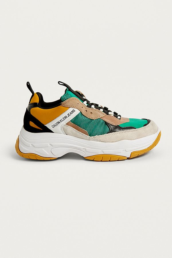 prix attractif mode assez bon marché Calvin Klein Marvin Logo Green and Yellow Trainers