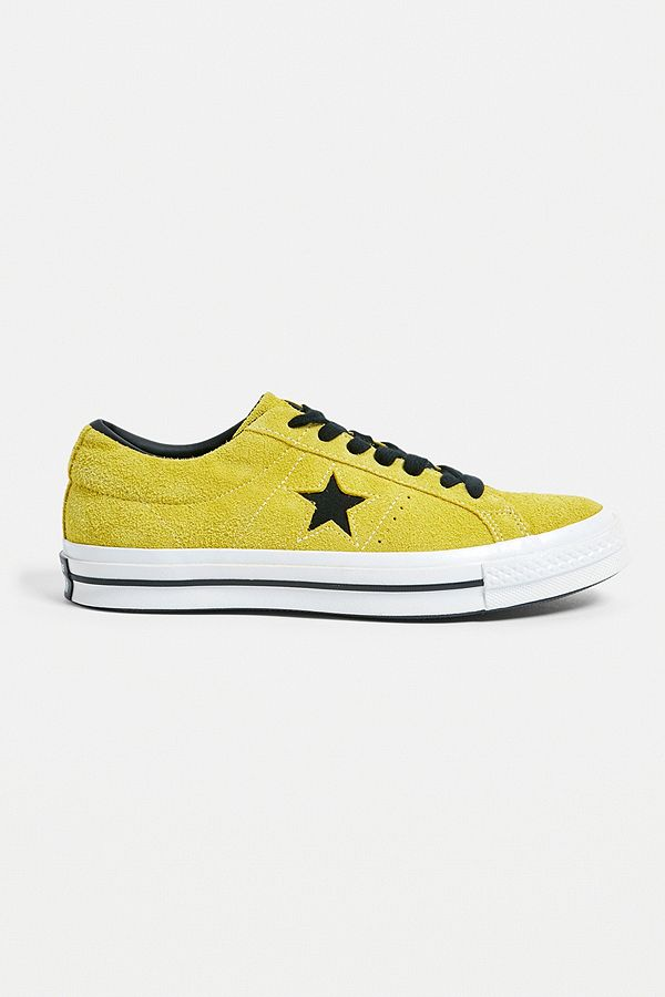 63558bb70a93 Slide View  1  Converse One Star Citron and Black Suede Trainers