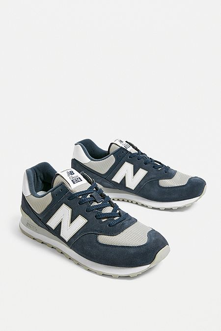 5a3b93ee66c0 New Balance ML574 Navy Trainers