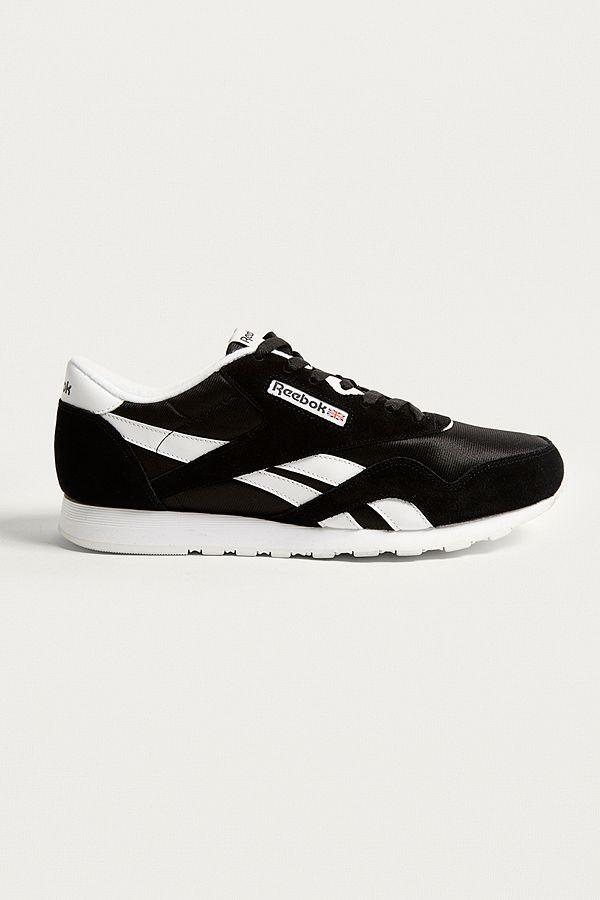 07a55e3ad7dc Reebok Classic Nylon Premium Black + White Trainers