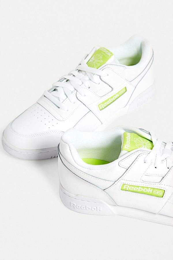 big sale 1e347 4da7c Slide View  1  Reebok Workout Plus White + Lime Trainers