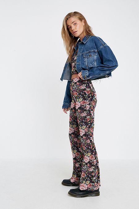 d8bdd212cef Urban Renewal Remnants Floral Mesh Flare Trousers