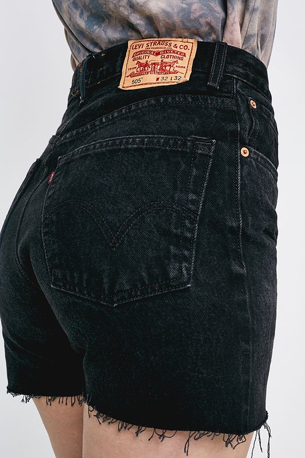 ded6d62eb6f63b Urban Renewal Re-Made From Vintage Levi's Black Denim Shorts