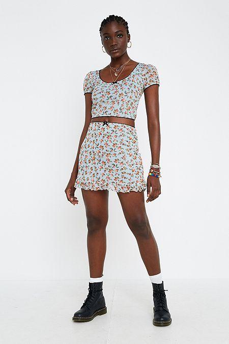 da66bb9d24 Urban Renewal Remnants Peach Mesh Peplum Skirt