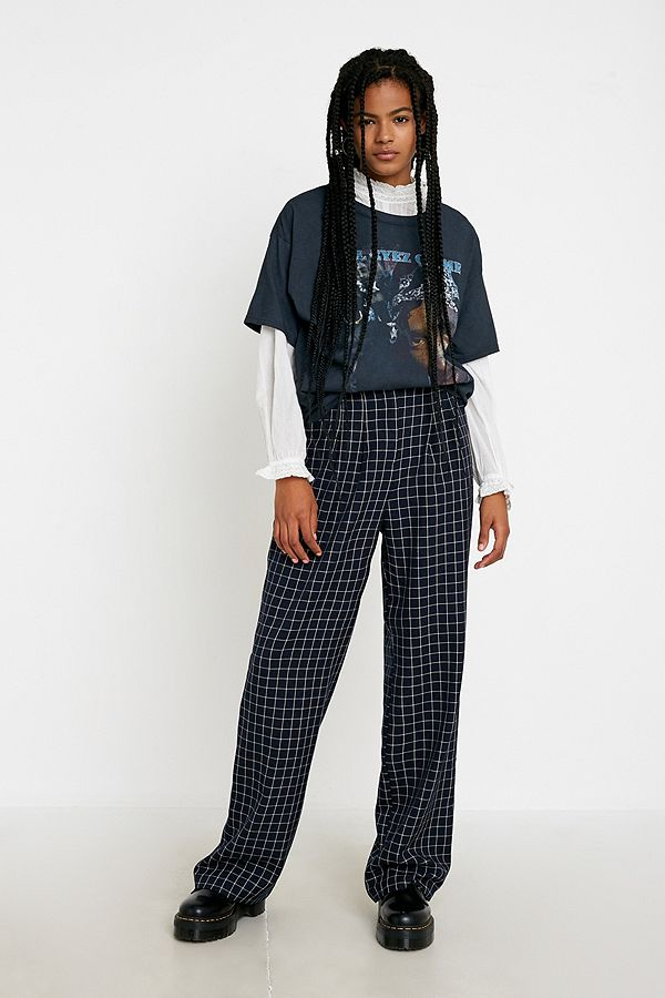 Urban Renewal Inspired By Vintage Navy Grid Checked Puddle Trousers by Urban Renewal