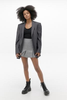 Urban Renewal Inspired By Vintage Grey Checked Pleated Skirt by Urban Renewal