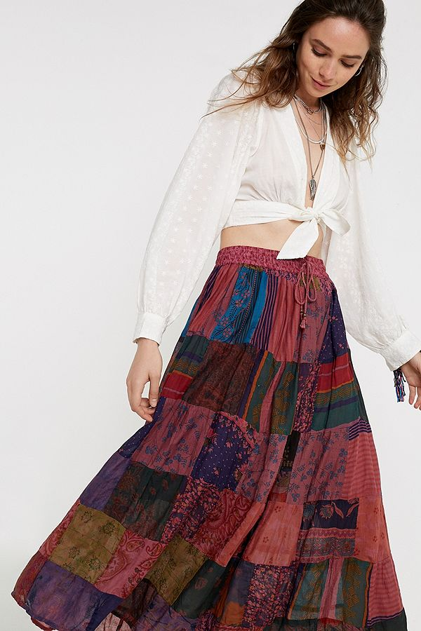 df3f0bc6d Slide View: 1: Urban Renewal Salvaged Deadstock Patchwork Print Maxi Skirt