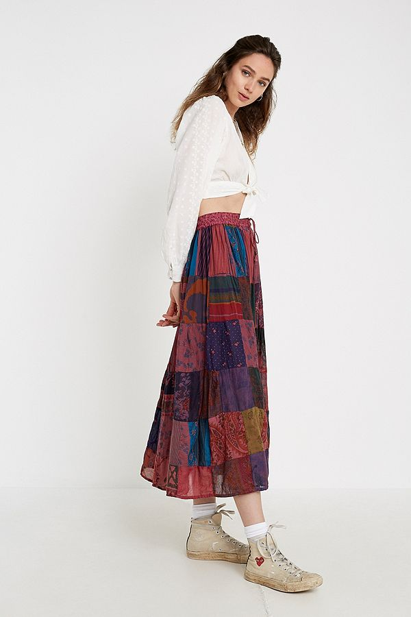 a2c733185 Slide View: 3: Urban Renewal Salvaged Deadstock Patchwork Print Maxi Skirt
