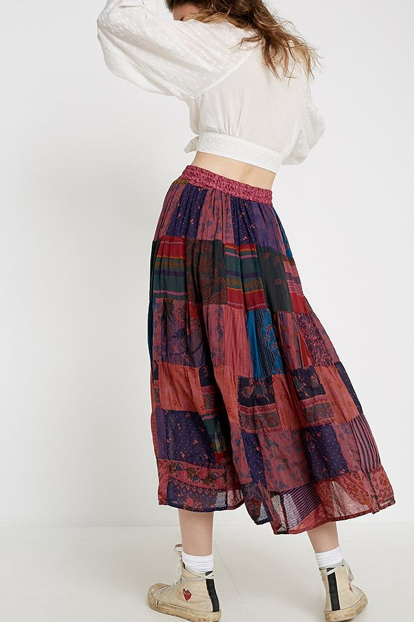 db401c1ed Slide View: 4: Urban Renewal Salvaged Deadstock Patchwork Print Maxi Skirt
